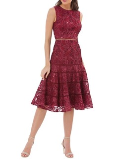 Carmen Marc Valvo Lace Sleeveless Fit-&-Flare Dress