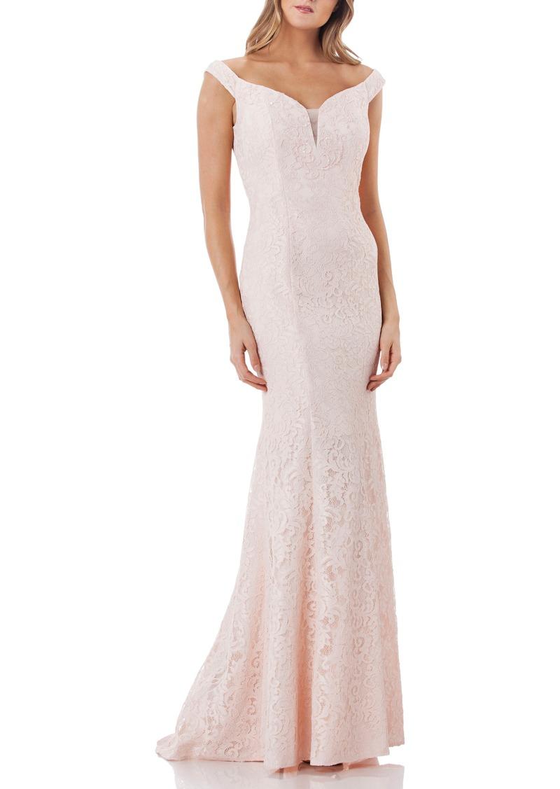 Carmen Marc Valvo Carmen Marc Valvo Infusion Lace Trumpet Gown | Dresses