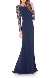 Carmen Marc Valvo Infusion Mesh & Crepe Gown
