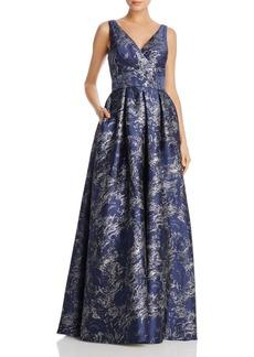 Carmen Marc Valvo Infusion Metallic Jacquard Gown