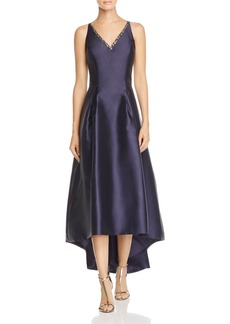 Carmen Marc Valvo Infusion Mikado V-Neck High/Low Gown