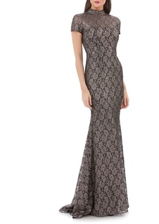 Carmen Marc Valvo Infusion Mock Neck Lace Gown