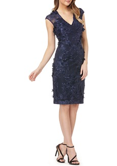 Carmen Marc Valvo Infusion Embroidered Sheath Dress