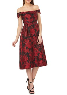Carmen Marc Valvo Infusion Off the Shoulder Brocade Dress