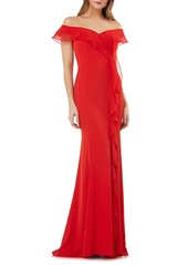 Carmen Marc Valvo Infusion Off the Shoulder Cascading Ruffle Gown