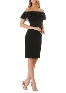 Carmen Marc Valvo Infusion Off-The-Shoulder Cocktail Sheath Dress