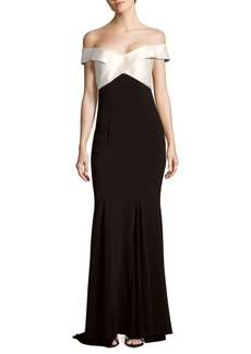 Carmen Marc Valvo Infusion Off-The-Shoulder Colorblock Gown
