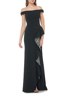 Carmen Marc Valvo Infusion Off the Shoulder Crepe Gown