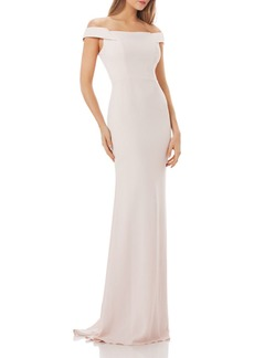 Carmen Marc Valvo Infusion Off-The-Shoulder Crepe Gown