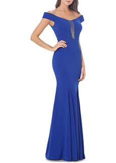 Carmen Marc Valvo Infusion Off the Shoulder Mermaid Gown
