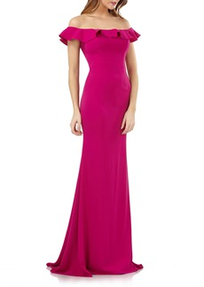 Carmen Marc Valvo Infusion Off the Shoulder Ruffle Neck Gown