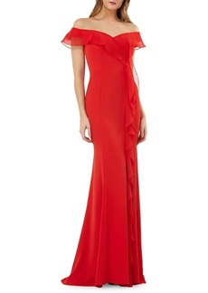 Carmen Marc Valvo Infusion Off-the-Shoulder Ruffled Mermaid Gown