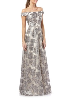 Carmen Marc Valvo Infusion Off the Shoulder Sequin Gown