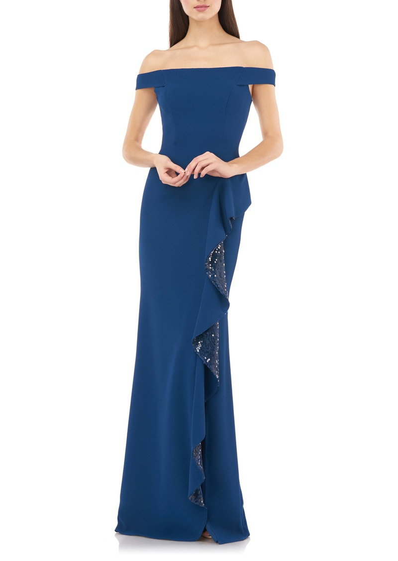 Carmen Marc Valvo Infusion Off the Shoulder Sequin Ruffle Gown