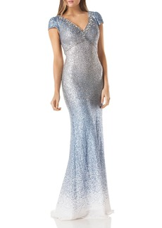 Carmen Marc Valvo Infusion Ombr� Sequin Gown