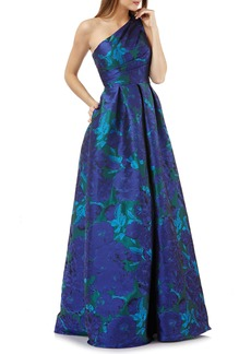 Carmen Marc Valvo Infusion One-Shoulder Ballgown