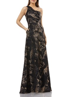Carmen Marc Valvo Infusion One-Shoulder Brocade Gown