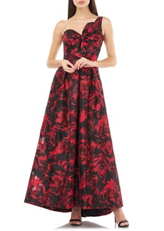 Carmen Marc Valvo Infusion One Shoulder Brocade Gown
