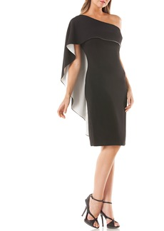 Carmen Marc Valvo Infusion One-Shoulder Cape Sheath Dress