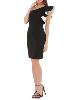 Carmen Marc Valvo Infusion One-Shoulder Contrast Ruffle Cocktail Dress