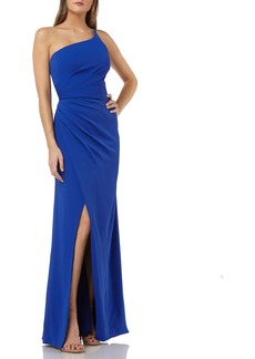 Carmen Marc Valvo Infusion One-Shoulder Crepe Gown with Slit