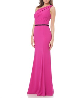 Carmen Marc Valvo Infusion One-Shoulder Crepe Mermaid Gown