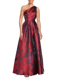 Carmen Marc Valvo Infusion One-Shoulder Floral Print Gown