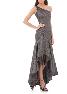 Carmen Marc Valvo Infusion One-Shoulder Metallic Gown
