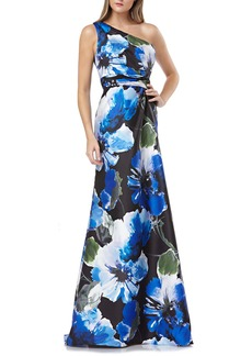 Carmen Marc Valvo Infusion One-Shoulder Mikado Gown