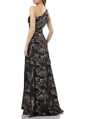 Carmen Marc Valvo Infusion One-Shoulder Pleated Brocade Ballgown