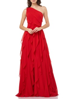 Carmen Marc Valvo Infusion One-Shoulder Ruffle Chiffon Gown
