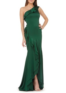 Carmen Marc Valvo Infusion One-Shoulder Satin Evening Dress