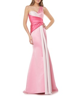 Carmen Marc Valvo Infusion One-Shoulder Satin Mermaid Gown