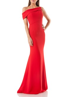 Carmen Marc Valvo Infusion One-Shoulder Trumpet Gown