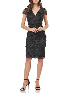 Carmen Marc Valvo Infusion Petals Embellished Cocktail Dress