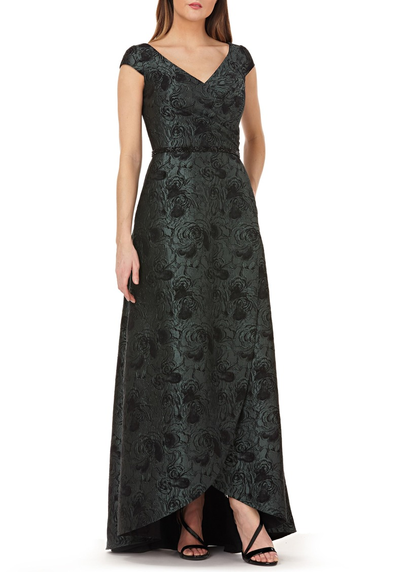 Carmen Marc Valvo Infusion Pleated Brocade Evening Dress