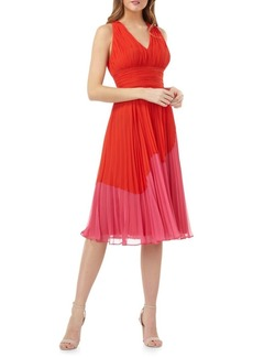 Carmen Marc Valvo Infusion Pleated Fit-and-Flare Cocktail Dress