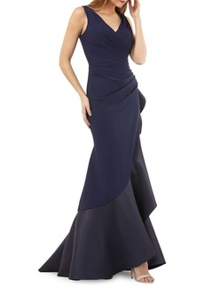 Carmen Marc Valvo Infusion Pleated Fit-and-Flare Evening Gown