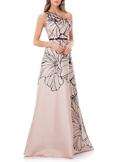 Carmen Marc Valvo Infusion Print One-Shoulder Mikado Gown