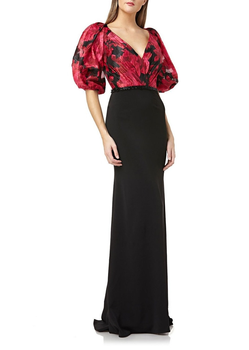 Carmen Marc Valvo Infusion Printed-Bodice Puff-Sleeve V-Neck Gown with Crepe Skirt