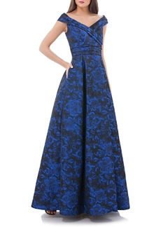 Carmen Marc Valvo Infusion Rose Print Off the Shoulder Ballgown