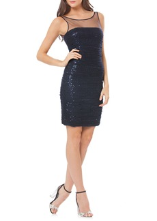 Carmen Marc Valvo Infusion Ruched Sequin Tulle Cocktail Dress