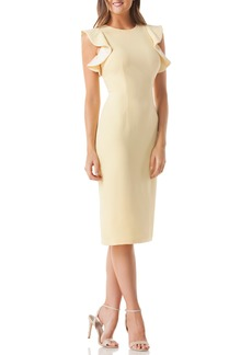 Carmen Marc Valvo Infusion Ruffle Crepe Sheath Dress