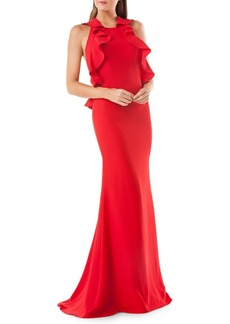 Carmen Marc Valvo Infusion Ruffled Evening Gown
