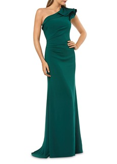 Carmen Marc Valvo Infusion Ruffled One-Shoulder Cr�pe Gown