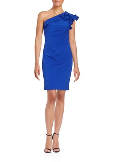 Carmen Marc Valvo Infusion Ruffled One-Shoulder Dress