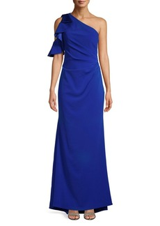 Carmen Marc Valvo Infusion Ruffled One-Shoulder Gown
