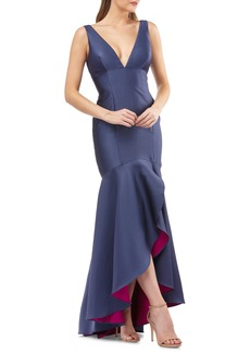 Carmen Marc Valvo Infusion Satin High/Low Evening Dress