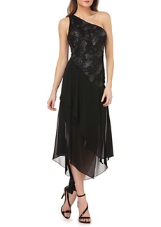 Carmen Marc Valvo Infusion Sequin & Chiffon One-Shoulder Dress