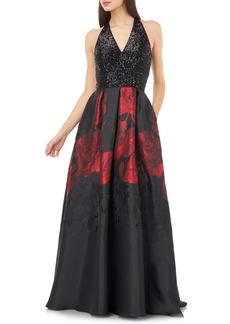 Carmen Marc Valvo Infusion Sequin & Floral Ballgown
